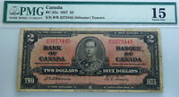 OSBORNE/TOWERS ,BANK OF CANADA 1937 $2 , CANADA BANK NOTE - PMG 15 CHOICE FINE