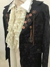 Steampunk Purple Brocade Jacket With Cogs & Satin Shirt Size M