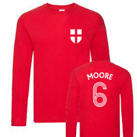 England World Cup 1966 Winners Bobby Moore No.6 Football Red Long Sleeve T-Shirt