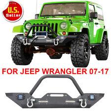 Rock Crawler 07-17 Jeep Wrangle JK Front Bumper W/LED Lights Winch Plate D-rings