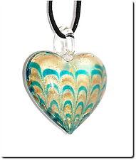 Collier pendentif cœur de verre soufflé turquoise lampwork pendant bijou été.