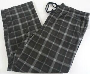 Men Pajama Pants LT Big and Tall Extra Soft Fleece Pockets Black Plaid