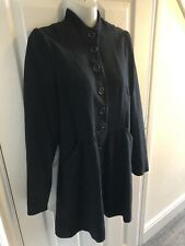 Womens Pepe Jeans Long Black Coat Size M (approx 10)