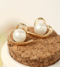 Hot Pearl Earrings Cute Peach Heart Love Stud Earrings For Women Wedding Jewelry