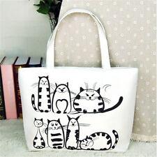 FD2645 Sitting Cat Casual Canvas Satchel Tote Shopping Bag Shoulder Handbag♫