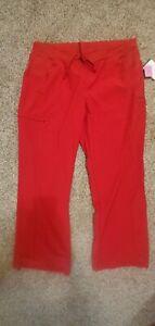Cherokee Infinity Women's Straight Leg Drawstring PETITE Scrub Pants. LARGE. Red