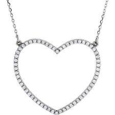Diamante Corazón Grande 40.6cm Collar en 14k ORO BLANCO ( 1/2 Ct. TW