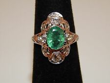 Art Deco 18k Filigree Colombian Emerald Mine European Cut Diamonds 2.53 tcw Ring