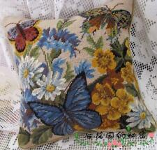 Vintage Wool Cushion Cover Handwork Needlepoint Pillow-Beautiful Butterfly
