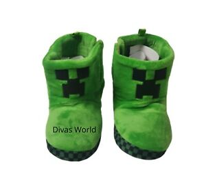 Minecraft Boys Green Boots Green Creeper 3D Gaming House Shoes Slipper Footwear