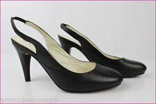 Zapatos De Salón Abiertos UNISA En Piel Negro T 38 MUY BUEN ESTADO