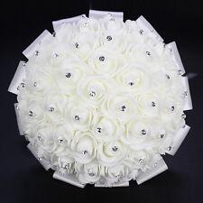 White Handmade Wedding Bouquet Bridal Bridesmaid Aartificial Foam Rose Flower