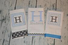 Personalized Burp Cloth set of 3  Monogram Burp Cloths Blue and Silver Chevron