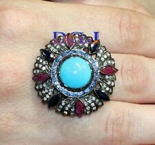 Turquoise Sapphire Ruby Silver Ring Rose Cut Diamond Wedding Engagement Ring