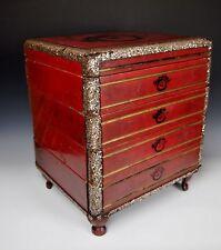 "Large 15"" JAPANESE LACQUER STACKING BOX 1700s Antique Jubako Storage MOP Edo"