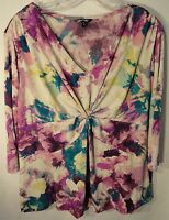 Purple Floral 3/4 Sleeve Women's Plus Size Blouse Top Shirt 1x or 2x You Choose