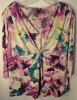 Purple Floral Daisy Fuentes 3/4 Sleeve Women's Plus Size Shirt 1x