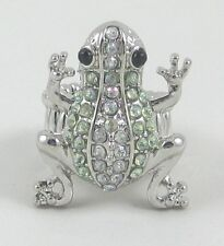 Beautiful New Frog Strectch Ring With Green & Clear Crystals #R1163