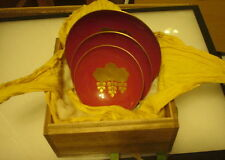 RISING SUN LACQUER WOODEN SAKE CUPS, SET OF 3-IN ORIGNAL BOX