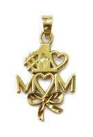 10k Yellow Gold Diamond Cut #1 Mom Charm Necklace Pendant ~ 0.5g