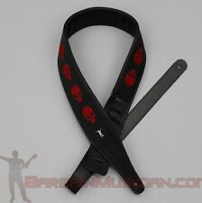 Leatherette Guitar / Bass Strap - W/ Red Embroidered Skull - Adjustable Sizing