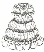 """Period French German Victorian Antique Dress Pattern for 17"""" to 18"""" Doll 605"""