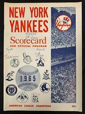 1965 NEW YORK YANKEES VS LOS ANGELES ANGELS BASEBALL PROGRAM/SCORE CARD SCORED