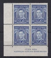 APD193) Australia 1938 3d Blue Die II Thin paper Ash Imprint Block ACSC 194Aza