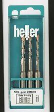 Heller Sds + Plus Bionic 3 Piezas Martillo Set 5mm 6mm 8mm De Alta Calidad Alemana Herramientas