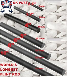 "FLINT STEEL FERRO ROD FIRE LIGHTER STARTER MAGNESIUM 6 8 10mm 3"" 4"" 5"" 6"" 8"" 10"""