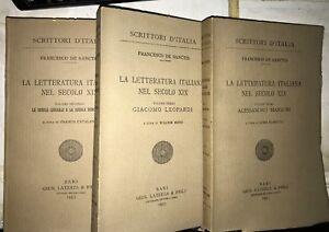 vvv DE SANCTIS - LA LETTERATURA ITALIANA NEL SECOLO XIX - LATERZA 1953, 3 VOLUMI