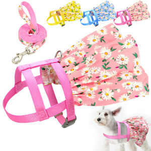 Floral Dog Harness with Leash Set Dog Dresses for Small Dogs Girls Puppy Vest