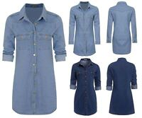 Womens Vintage Casual Button Down Long Sleeve Denim Jean Shirt Dress Size UK6-14
