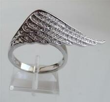 DIAMONIQUE by ANDREA McLEAN 0.7ct STERL SILVER WING RING UK- M; US- 6.5 NEW QVC