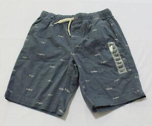 Old Navy Boy's Built-In Flex Shark Pattern Shorts AL8 Blue Large (10-12) NWT