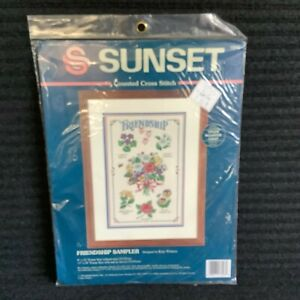 Dimensions Sunset Friendship Counted Cross Stitch Kit Floral Flower Sampler Gift