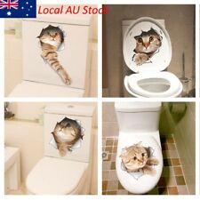 Cat 3D Smashed Wall Sticker Bathroom Toilet Decorative Decals Funny kitten Decor