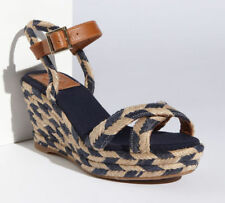 98e881be872e Tory Burch Camelia Mid Wedge Woven Navy Natural Espadrille Sandals Size 10  New