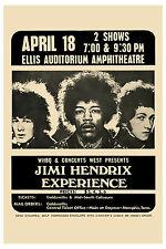 1960's Rock: Jimi Hendrix Experience Memphis Ellis Auditorium Concert Poster '69
