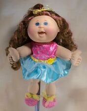 """Play Along OAA Cabbage Patch Kids Doll 14"""" 2013 Brown Curly Hair w/Pink Streaks"""