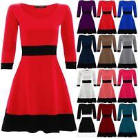 Womens Skater Dress New Ladies Contrast Panel 3/4 Sleeve Flared Franki Plus Size