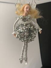 Collectible Unique Fairy Ballerina Ornament Doll with Silver Flowers & Beads