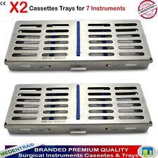 Inoxydable Dentaire stérilisation 7 Instruments cassettes autoclave plateaux Rack 2PCS