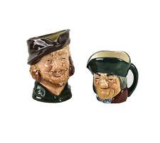 2pc Royal Doulton Toby Philpots D6043 Mini Robin Hood D6234 Small Toby Jugs Mugs