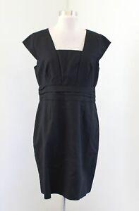 NWT Banana Republic Solid Black Cap Sleeve Sheath Dress Size 12P Career Office