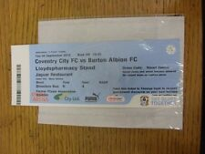 04/09/2012 Ticket: Coventry City v Burton Albion [Johnstone Paint Trophy] (Legen