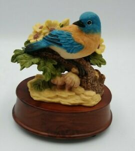 Heritage House Music Box Collector Edition Woodland Melodies Blue Bird Figurine