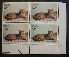 1993  ITALIA  600 lire Gatti  Europeo   Quartina  MNH**