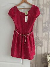 Closet In Fenwick Beautiful Lace Detail Dress in Rasberry Pink 14/42  New+Tags