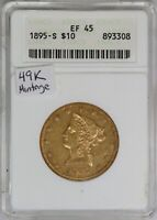 1895-S ANACS $10 Liberty Head Gold Eagle EF45 XF45 Better Date/Mint 49K Mintage
